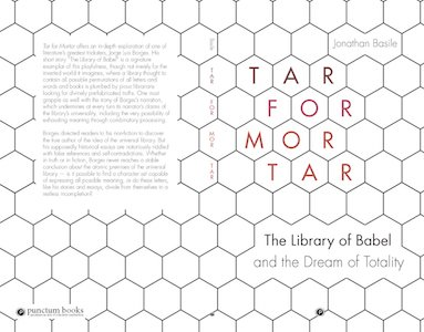 The book cover of Tar for Mortar by Jonathan Basile, featuring a honeycomb design of tiled hexagons